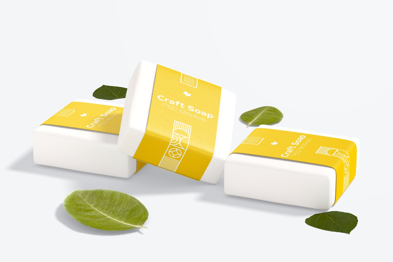 Craft Soaps with Label Mockup, Perspective View