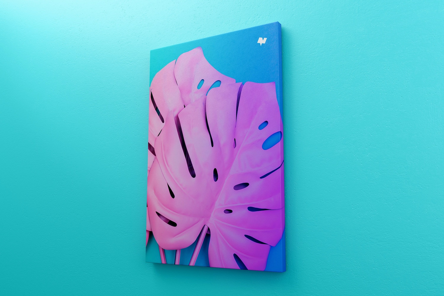 2:3 Portrait Canvas Mockup Hanging on Wall, Right View