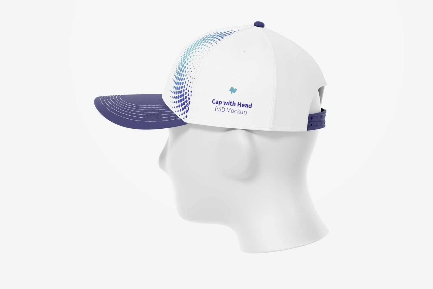 Cap with Head Mockup, Right View