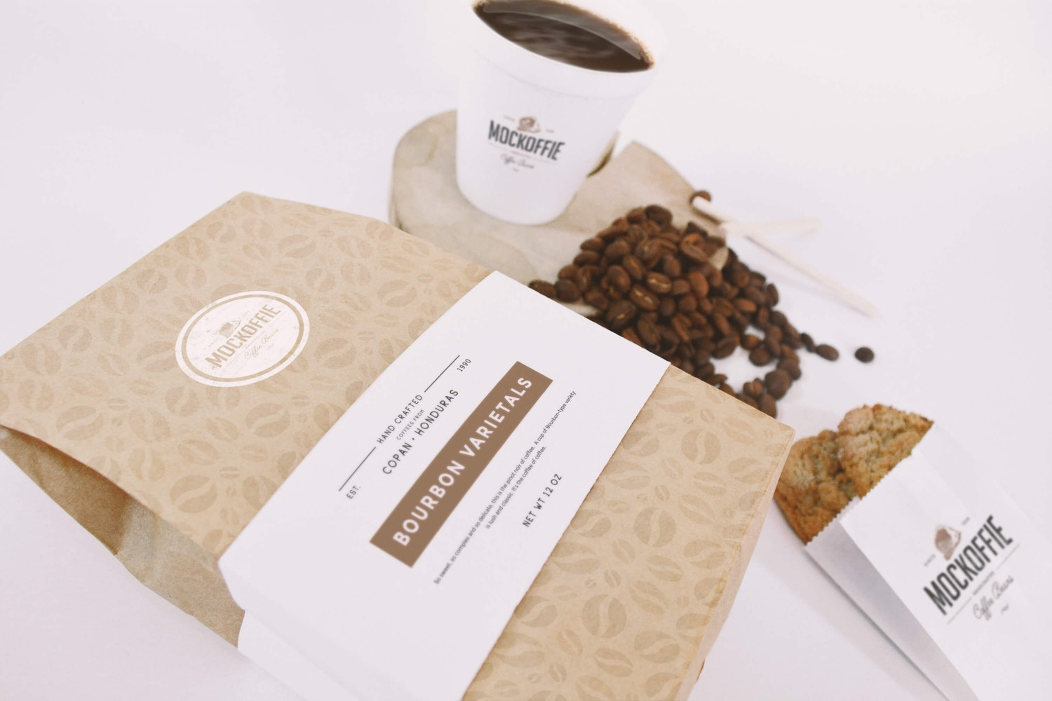 Coffee Bag and Cup Mockup Perspective Top View by Eduardo Mejia on Original Mockups