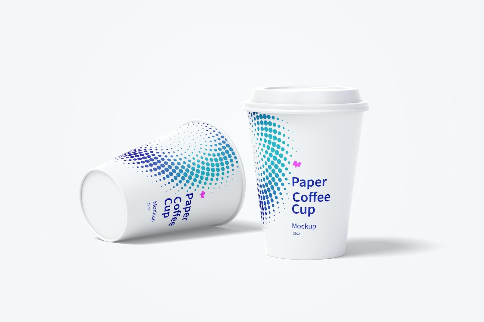 12oz Paper Coffee Cups Mockup