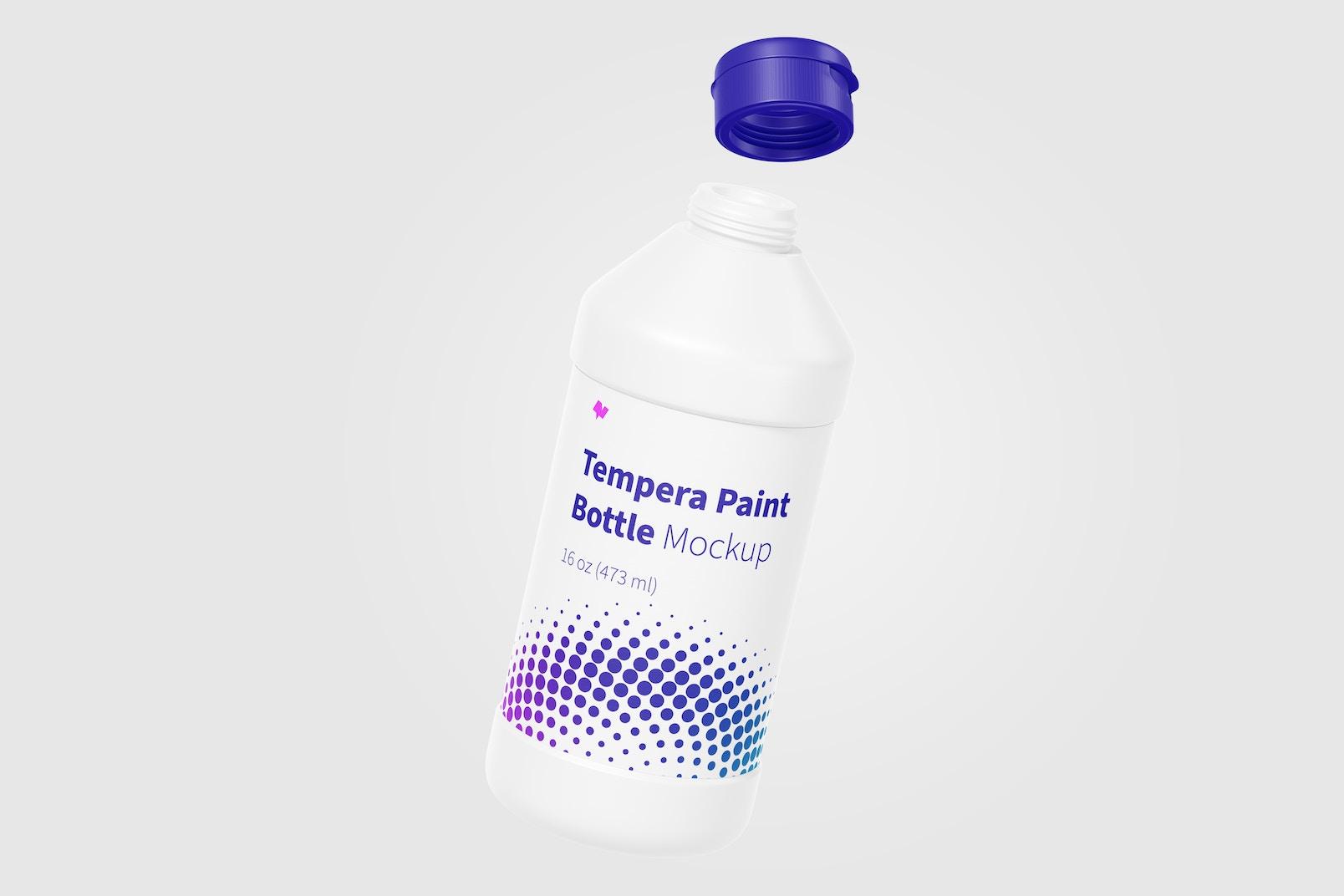 16 oz Tempera Paint Bottle Mockup, Floating