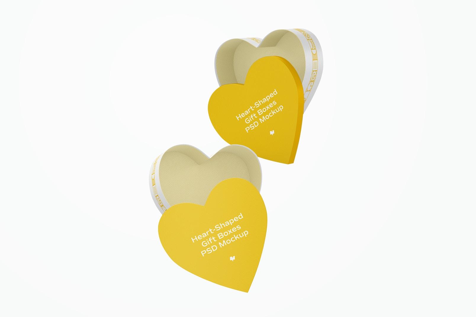 Heart-Shaped Gift Boxes Mockup, Falling