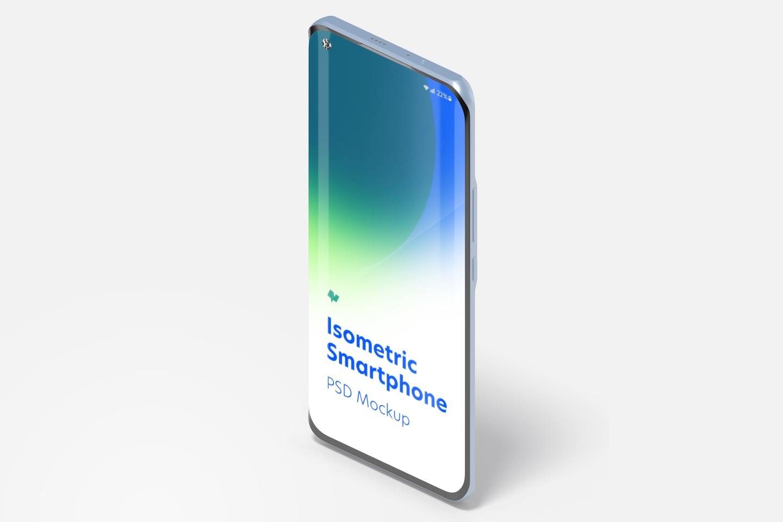 Isometric Xiaomi Smartphone Mockup, Portrait Left View