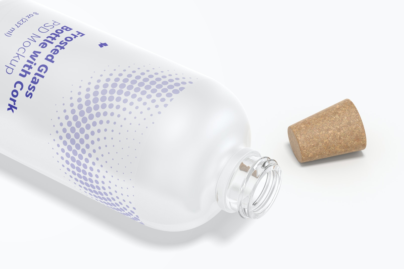 Frosted Glass Bottle with Cork Mockup, Close-Up