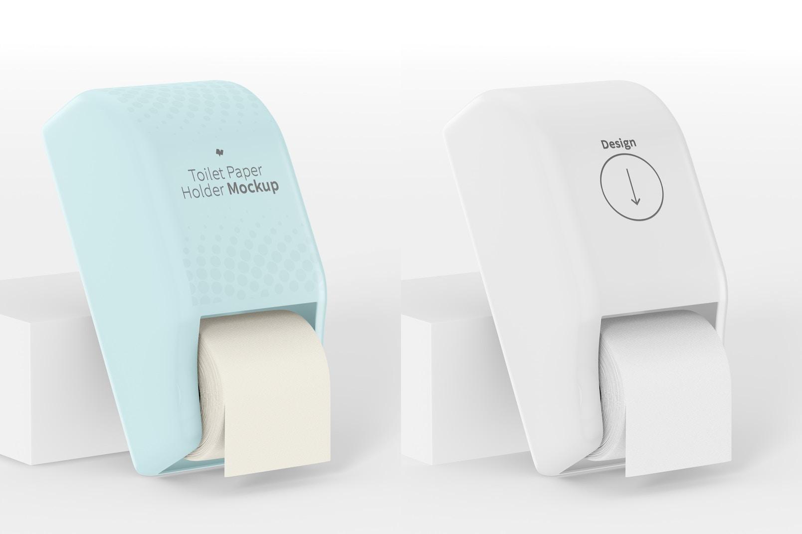 Toilet Paper Holder Mockup, Leaned
