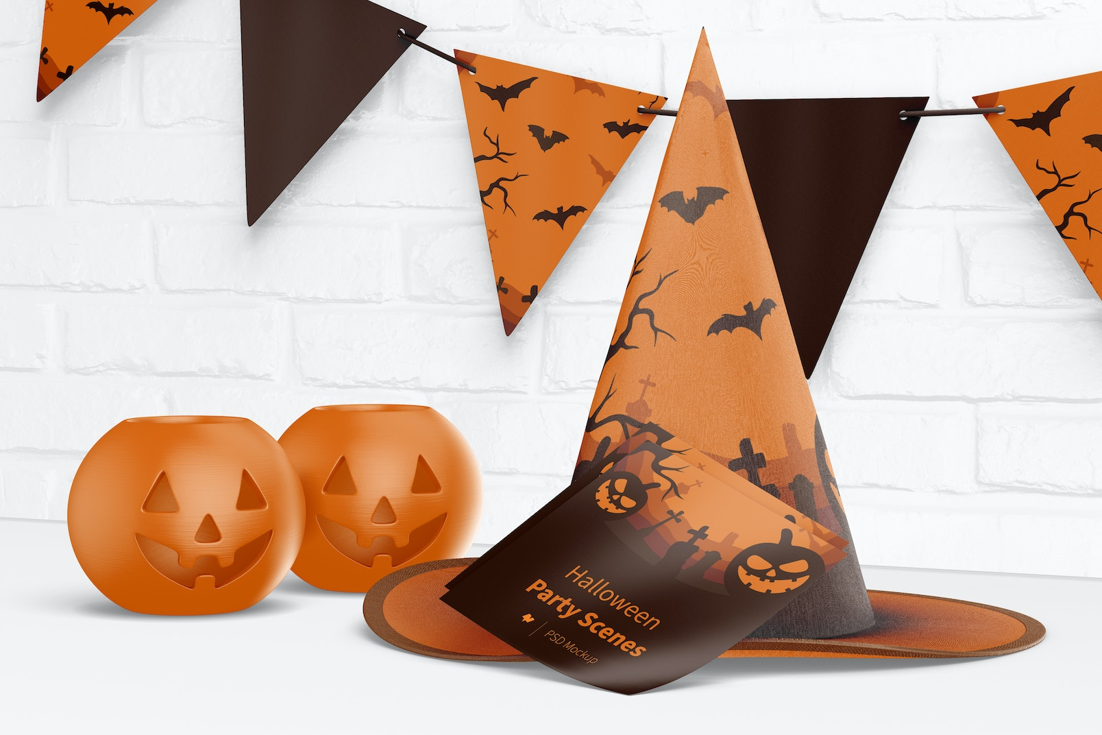 Halloween Party Scene Mockup, Front View