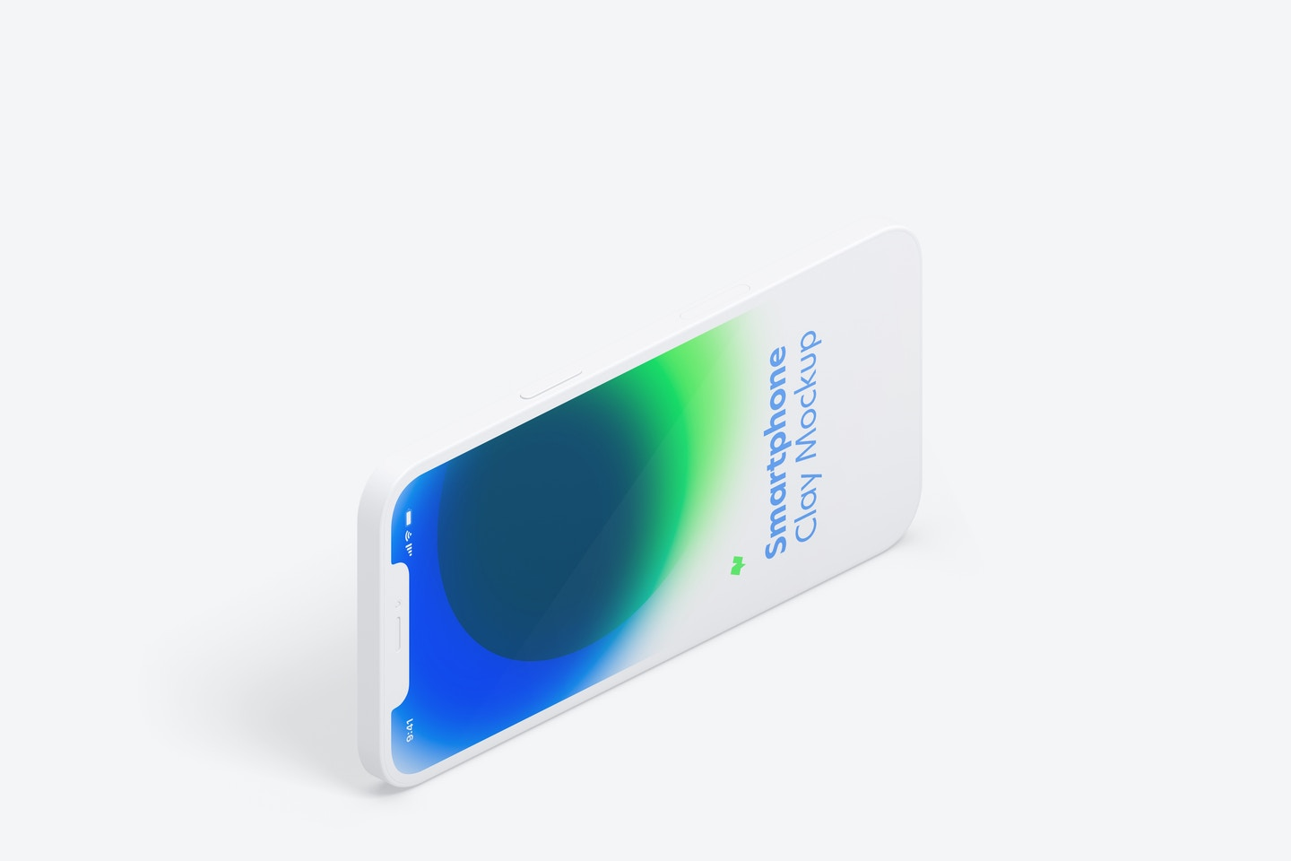 Isometric Clay iPhone 12 Mockup, Landscape Left View