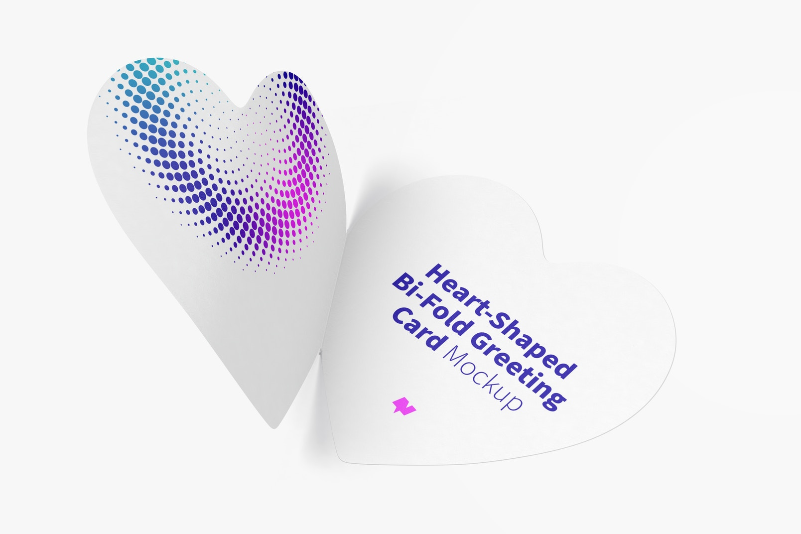 Heart-Shaped Bi-Fold Greeting Card Mockup, Opened
