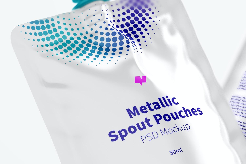 50ml Metallic Spout Pouches Mockup, Floating