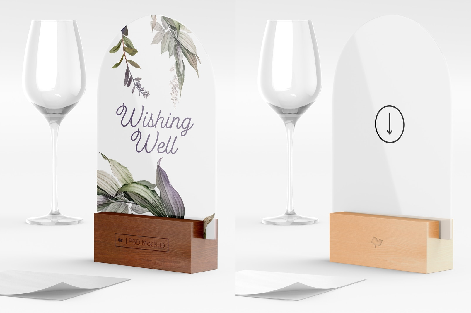 Acrylic Arch Table Sign Mockup, Left View