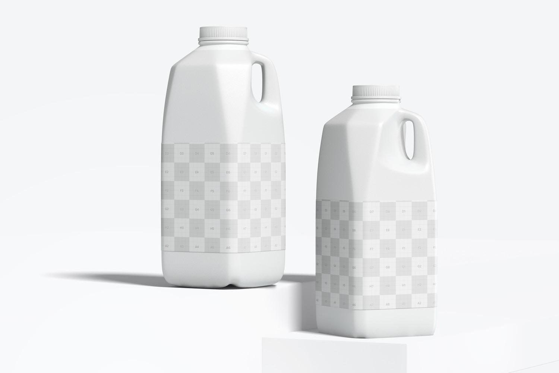 64 oz Milk Bottles Mockup, Front View