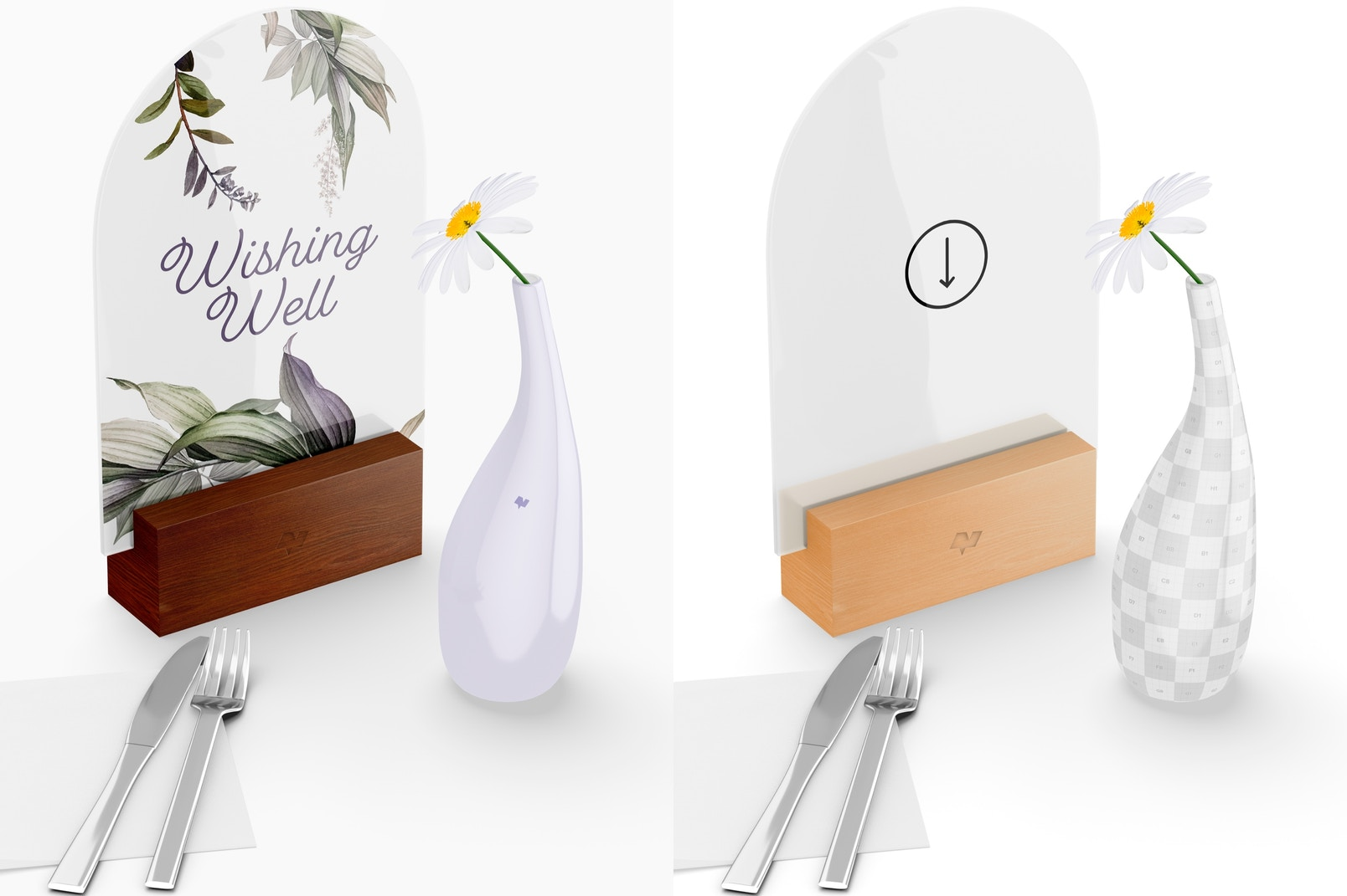 Acrylic Arch Table Sign Mockup, Top View