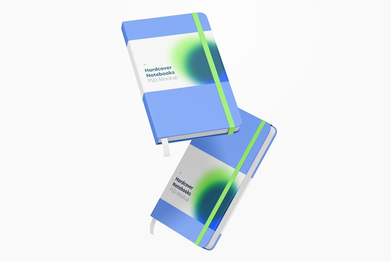 Hardcover Notebooks with Elastic Band Mockup, Falling