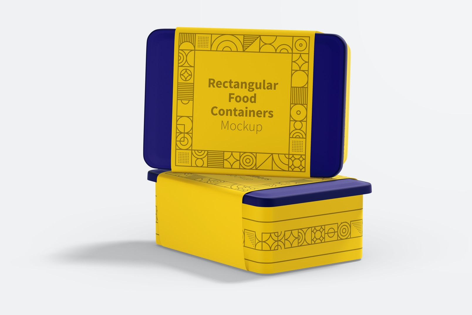 Rectangular Plastic Food Delivery Containers Mockup, Right View