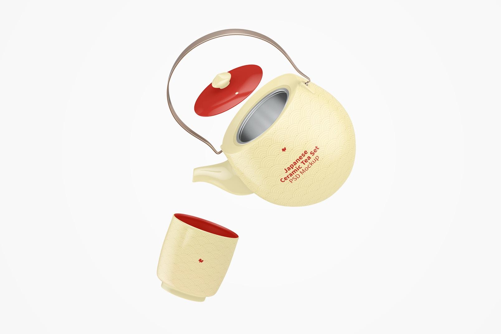 Japanese Ceramic Tea Set Mockup, Floating