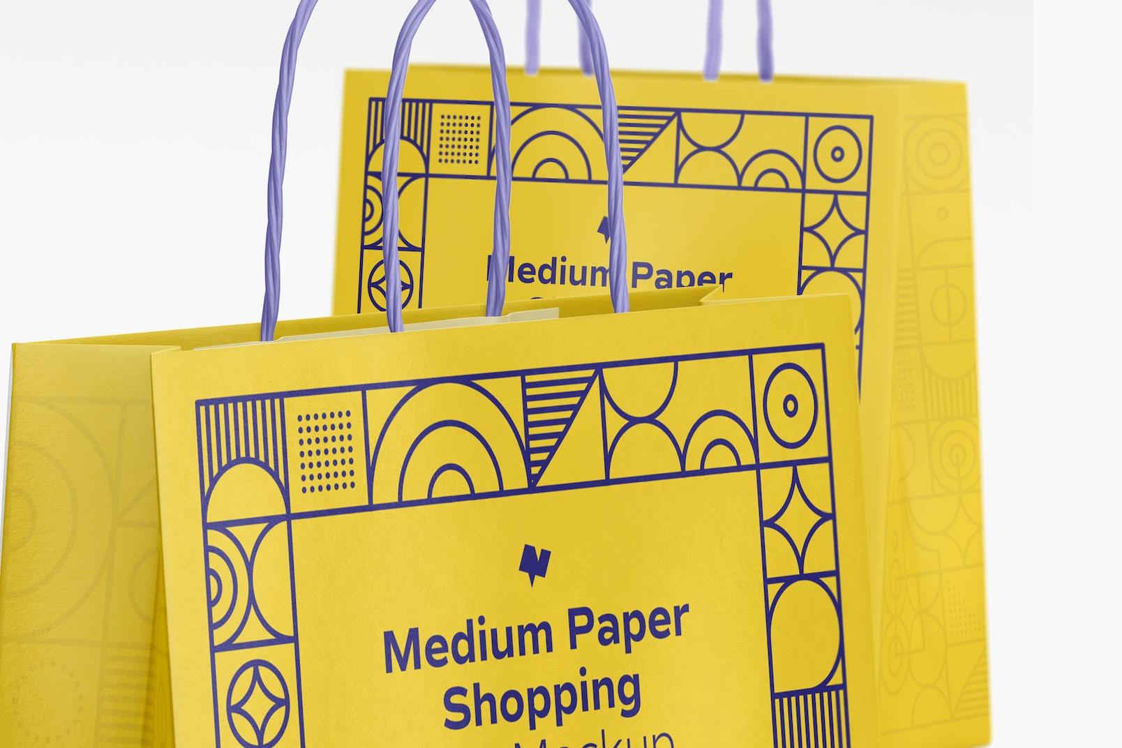 Medium Paper Shopping Bag Mockup, Close Up