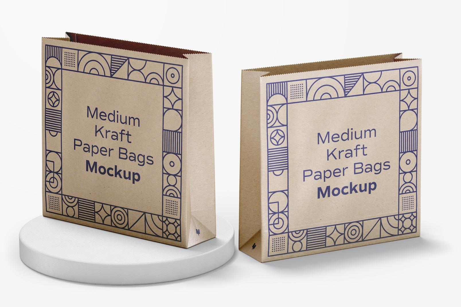 Medium Kraft Paper Bags Mockup, Perspective