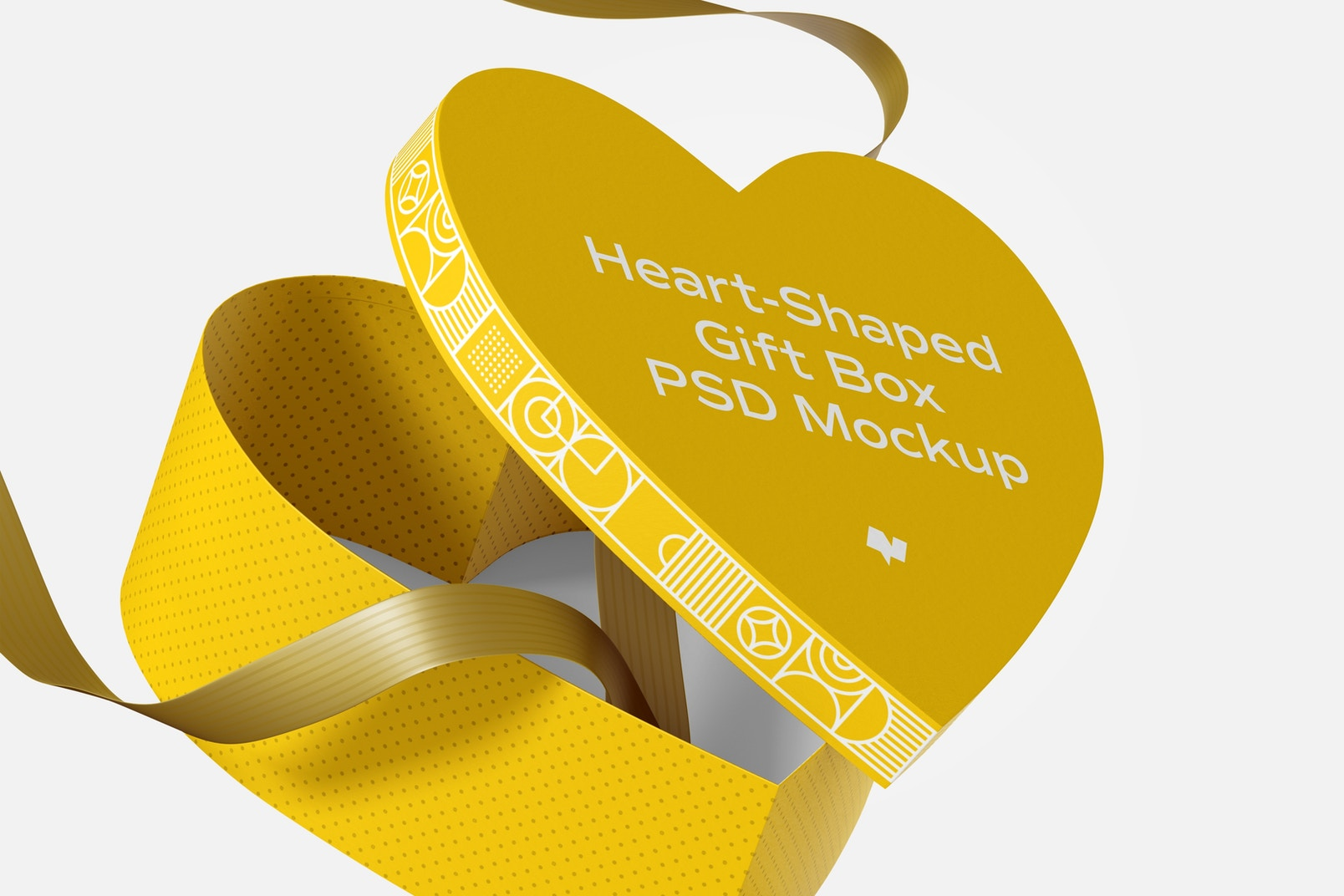 Heart-Shaped Gift Box With Paper Ribbon Mockup, Floating