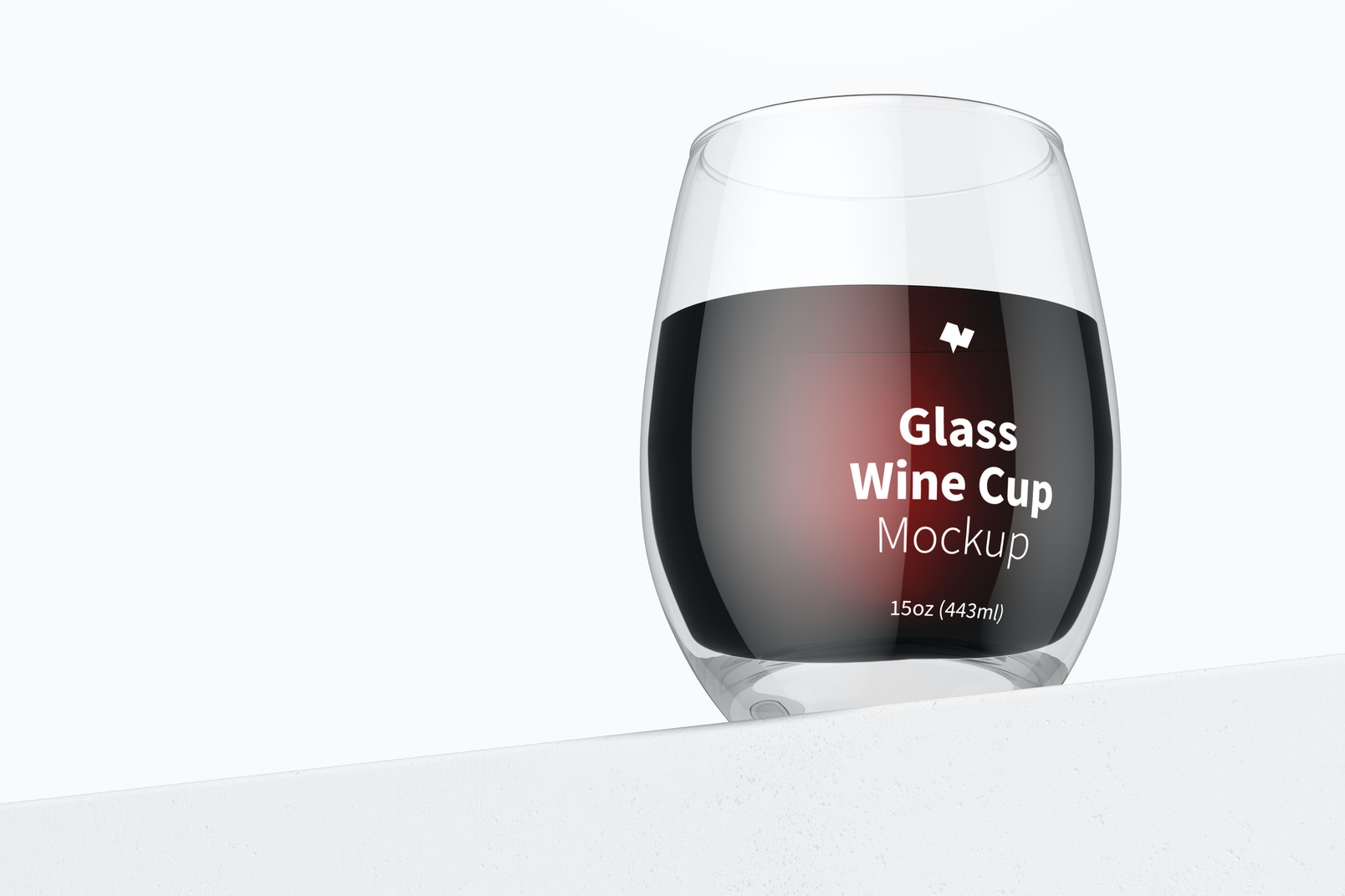 15 oz Glass Wine Cup Mockup, Perspective