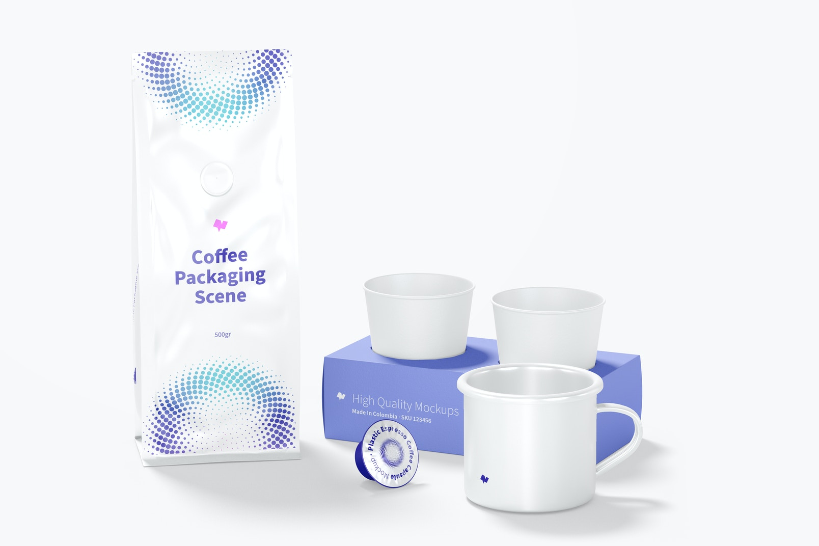 Coffee Packaging Scene Mockup, Front View