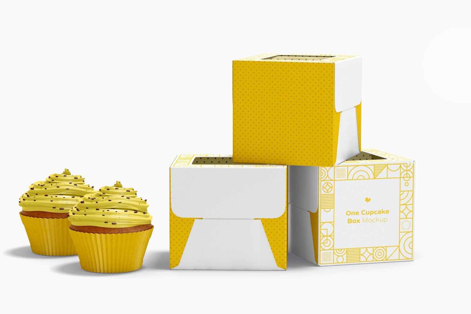 One Cupcake Boxes Mockup, Closed