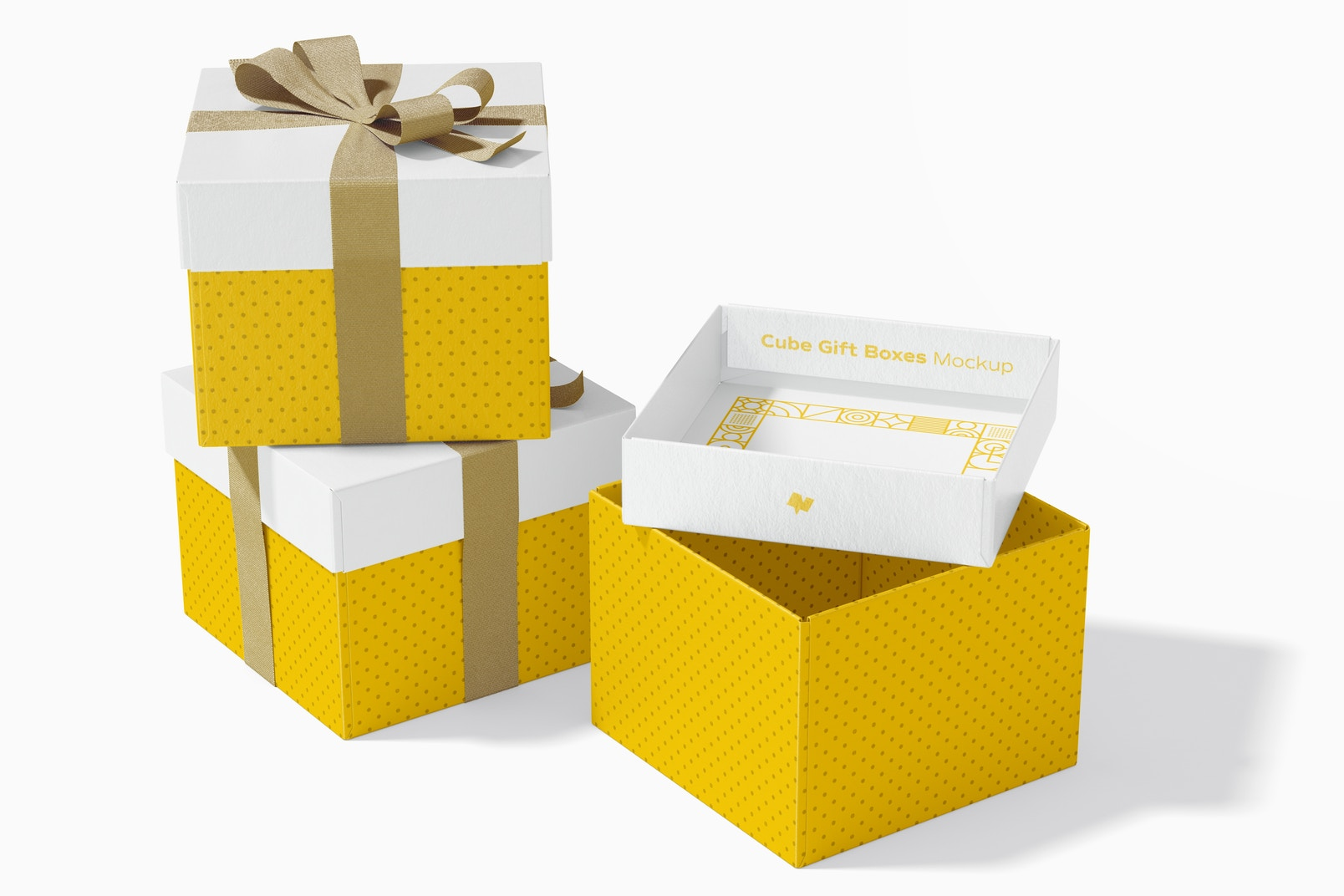 Cube Gift Boxes With Ribbon Set Mockup