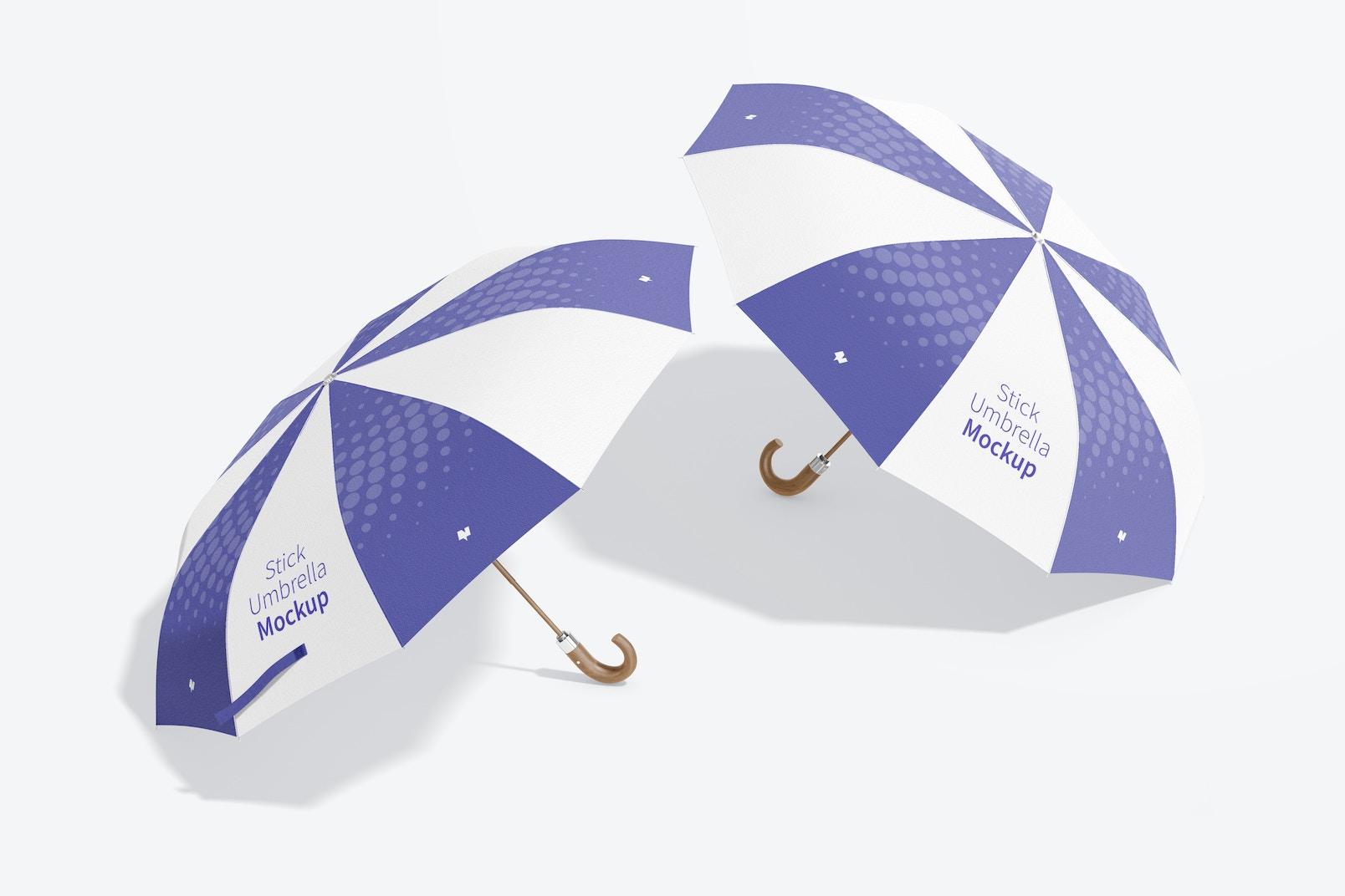 Stick Umbrellas Mockup
