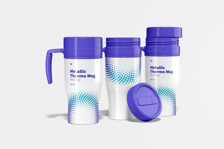 Glossy Metallic Thermo Mug Set Mockup