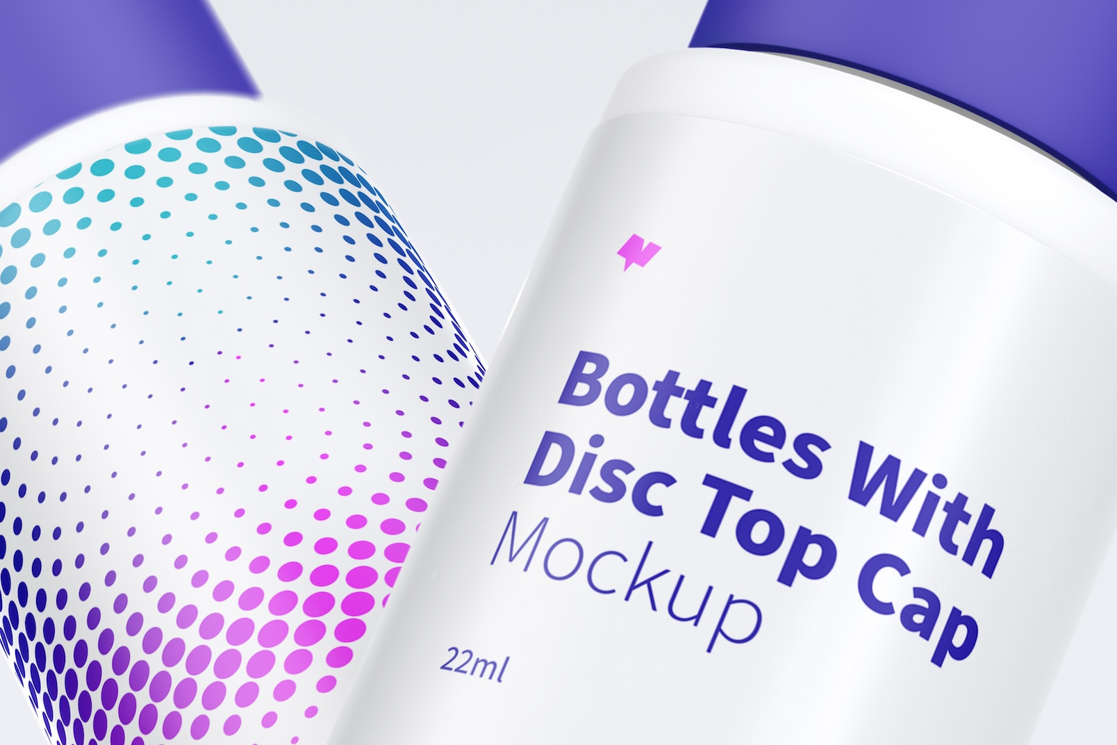 22ml Plastic Bottle With Disc Top Cap Mockup, Close Up