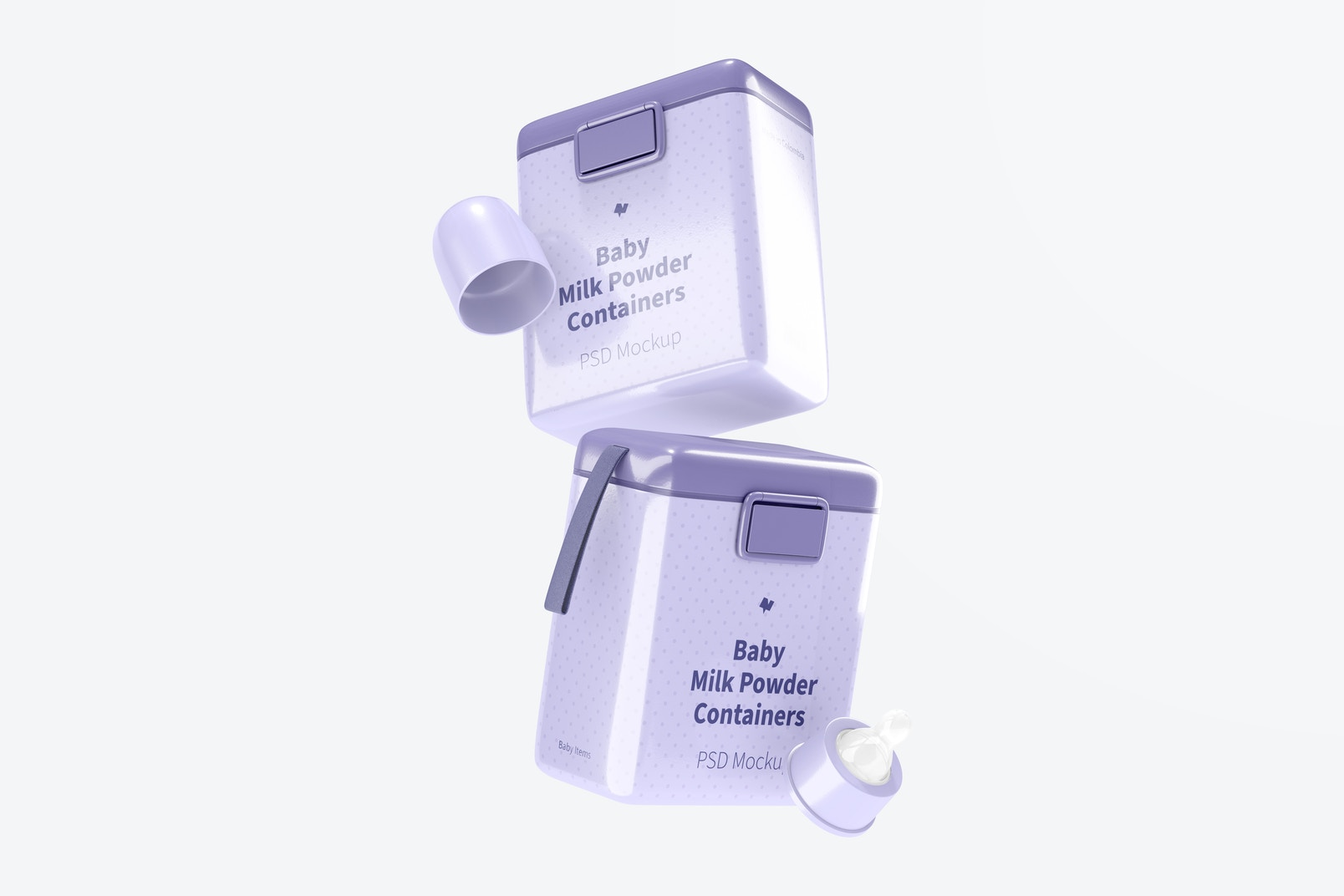 Large Baby Milk Powder Containers Mockup, Falling