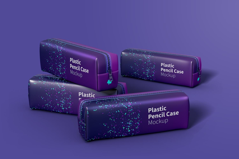 Plastic Pencil Case Set Mockup