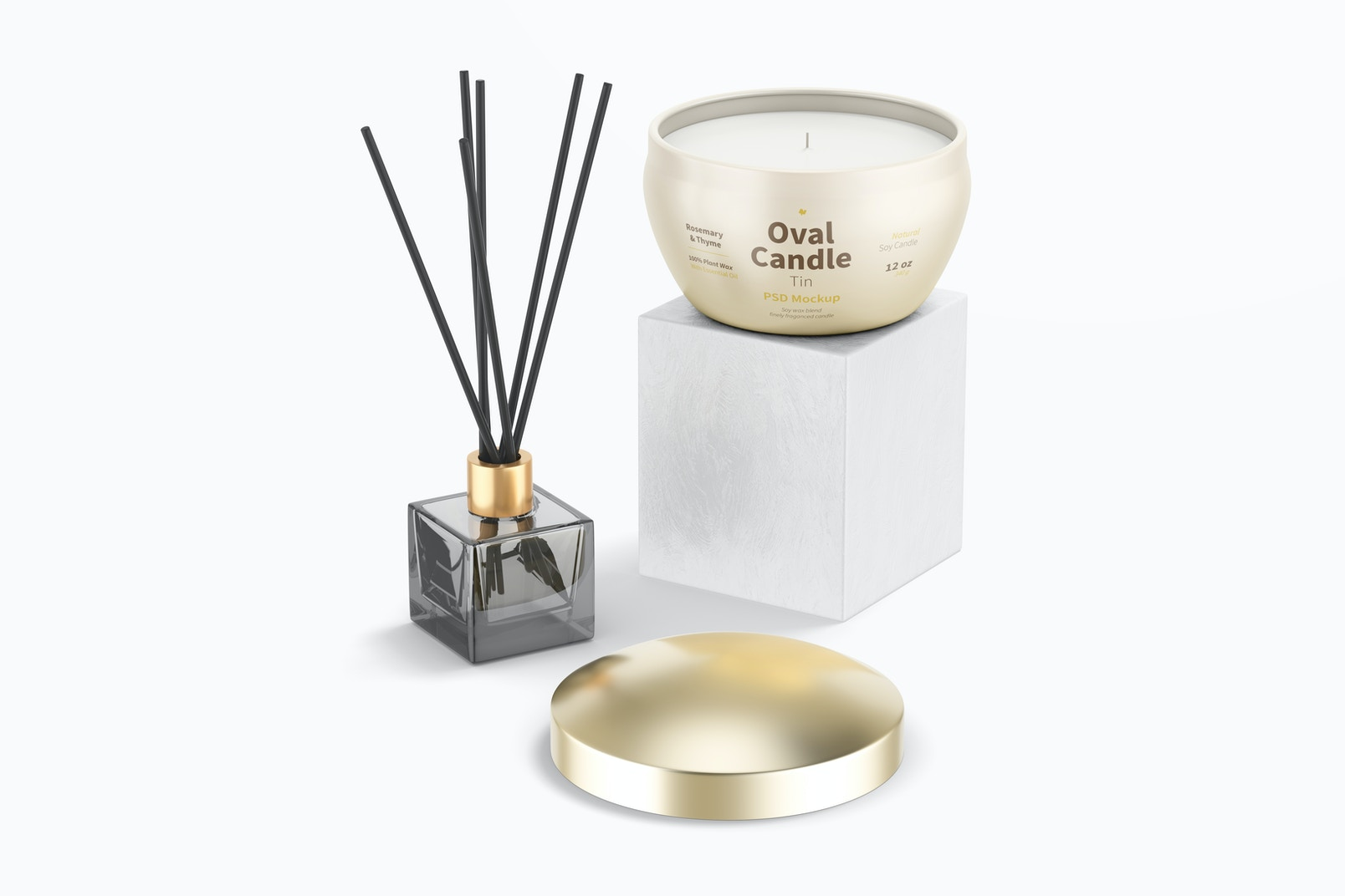 Oval Candle Tin with Diffuser Mockup