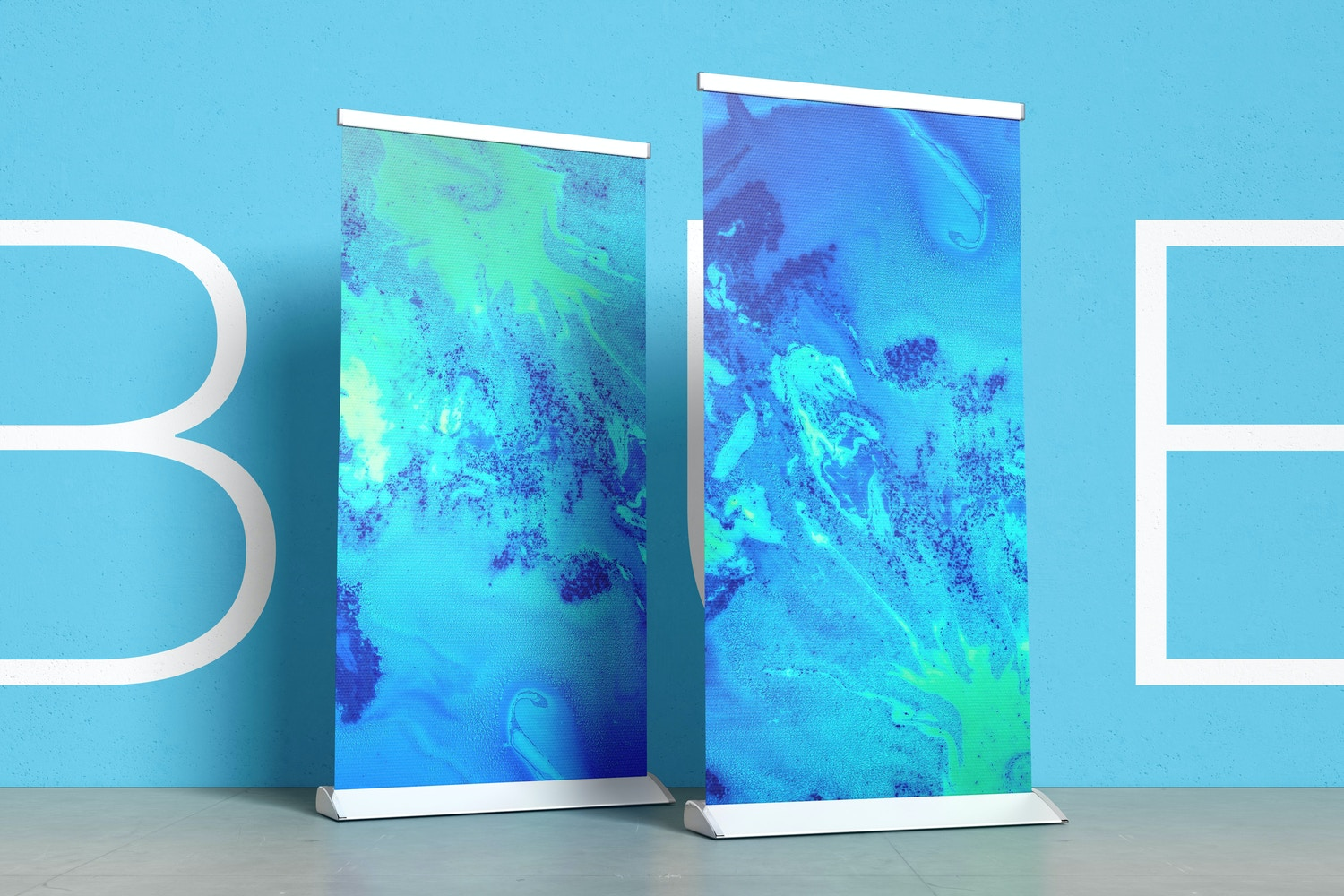 Place a beautiful design or texture on the background wall that combines with your roll-up banner design