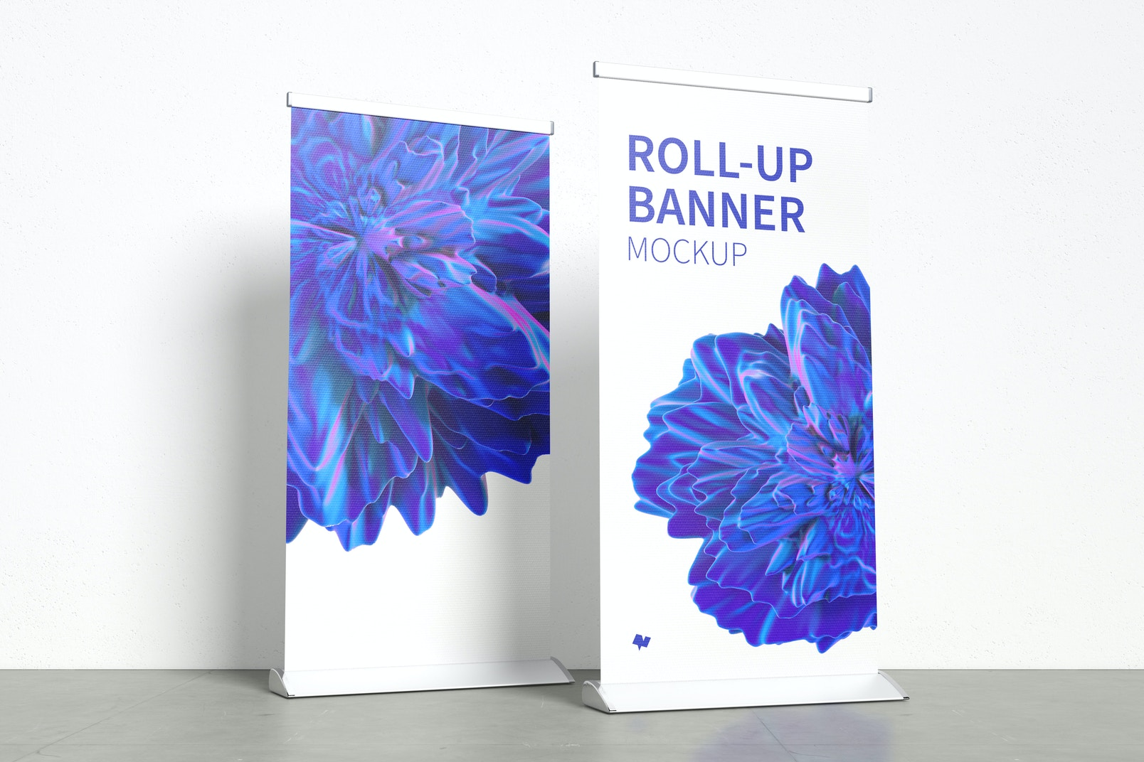 Standing Roll-Up Banners Mockup with a Background Wall