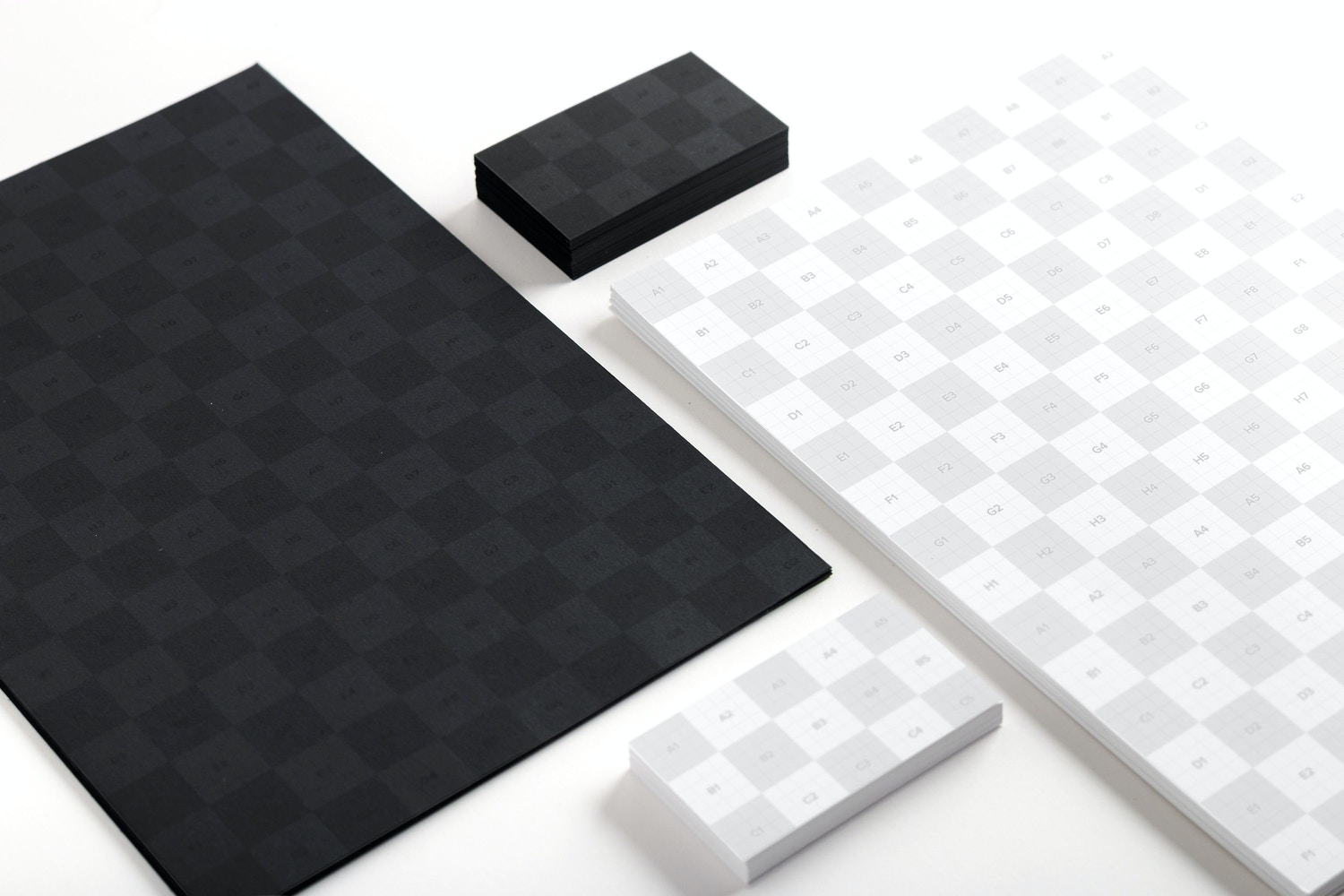 Black and White A4 and Business Cards Mockup 01