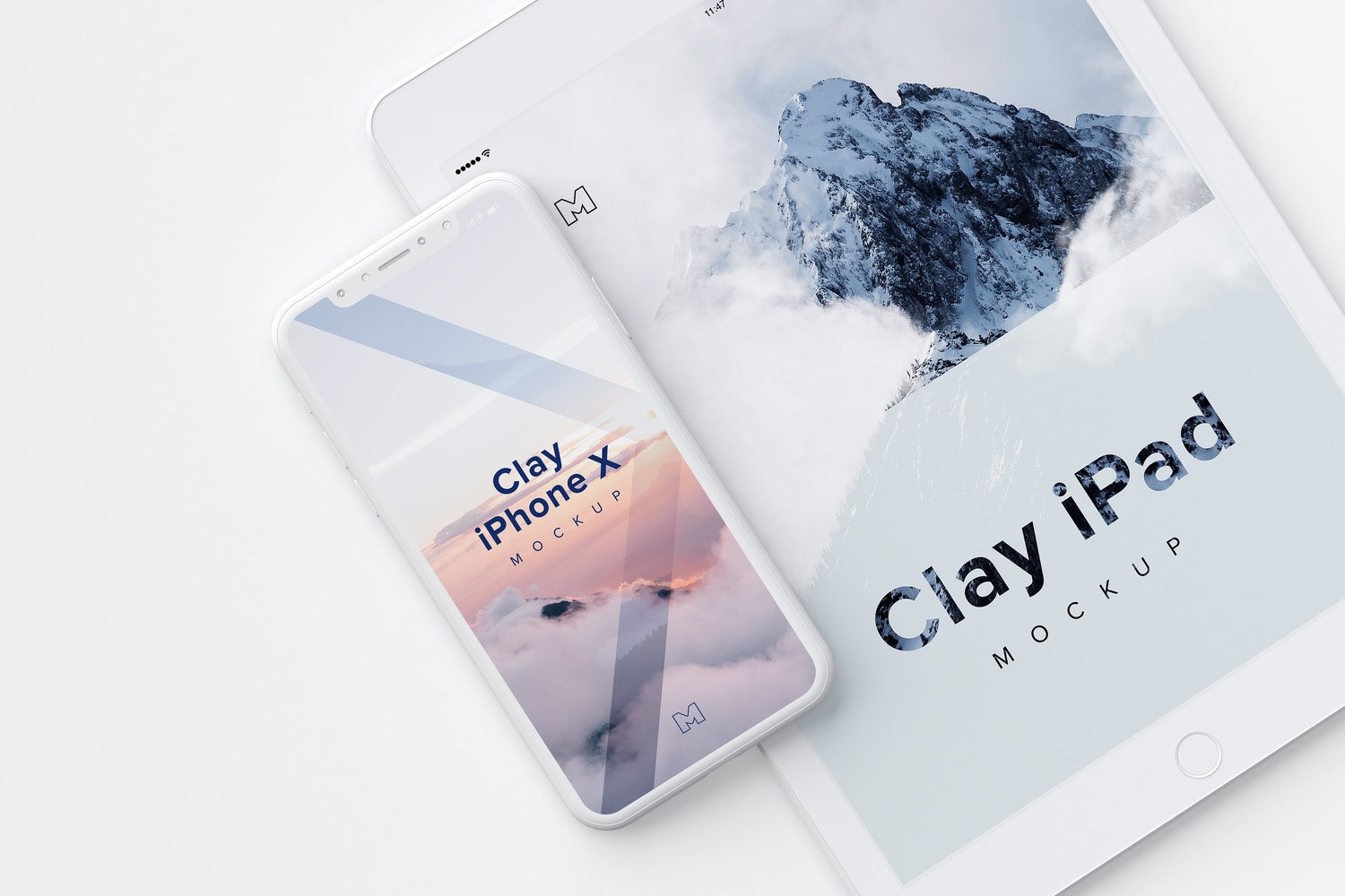 Clay iPhone X and iPad Mockup 01 by Original Mockups on Original Mockups