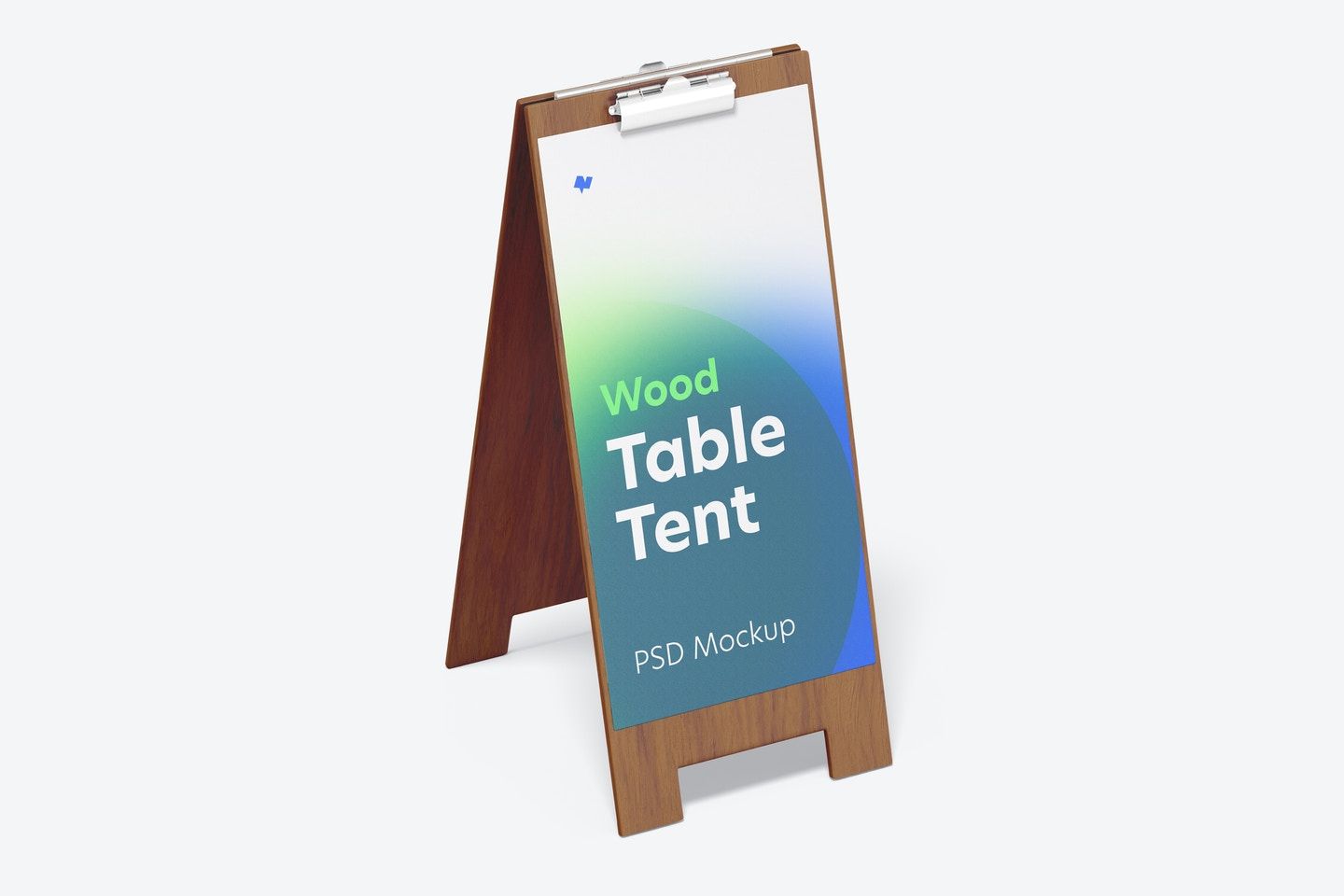 Wood Table Tent with Clip Mockup