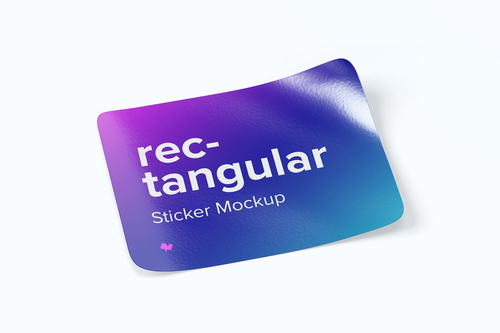 Rectangular Sticker Mockup, Left View