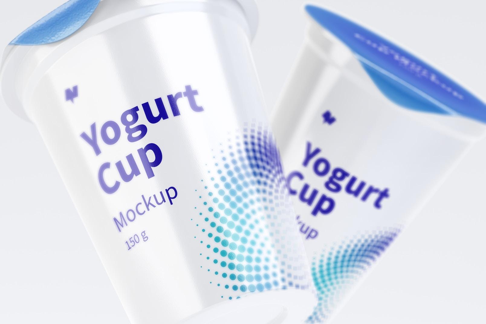 150 g Yogurt Cups Mockup, Close-Up