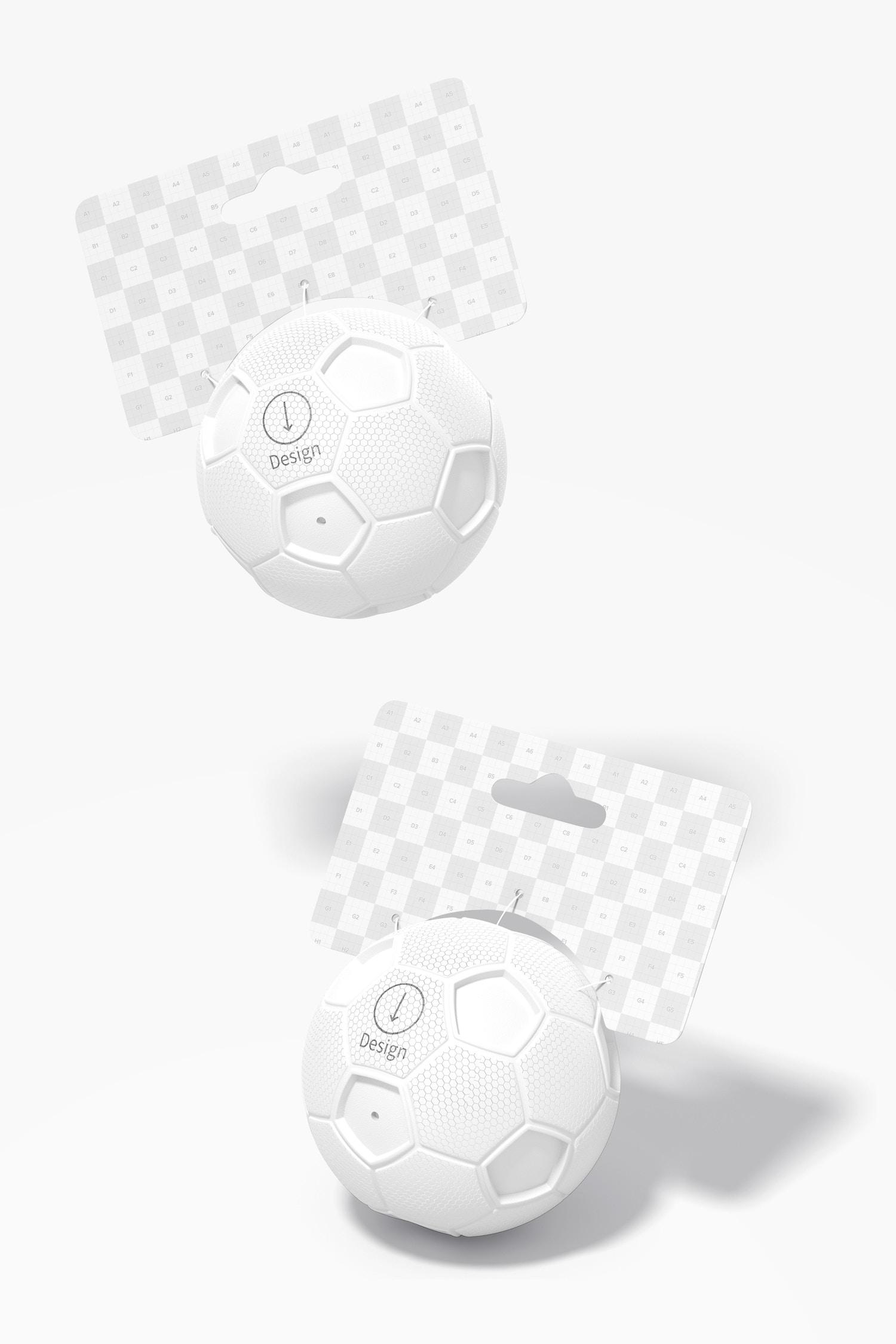 Soccer Squeak Balls Mockup, Falling