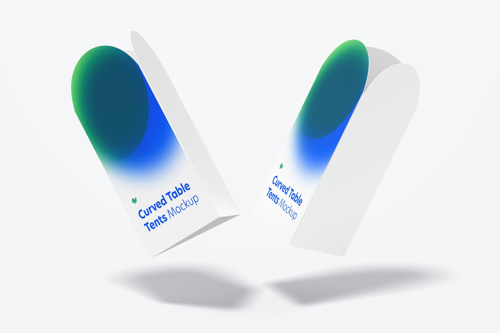 Curved Top Table Tents Mockup, Falling