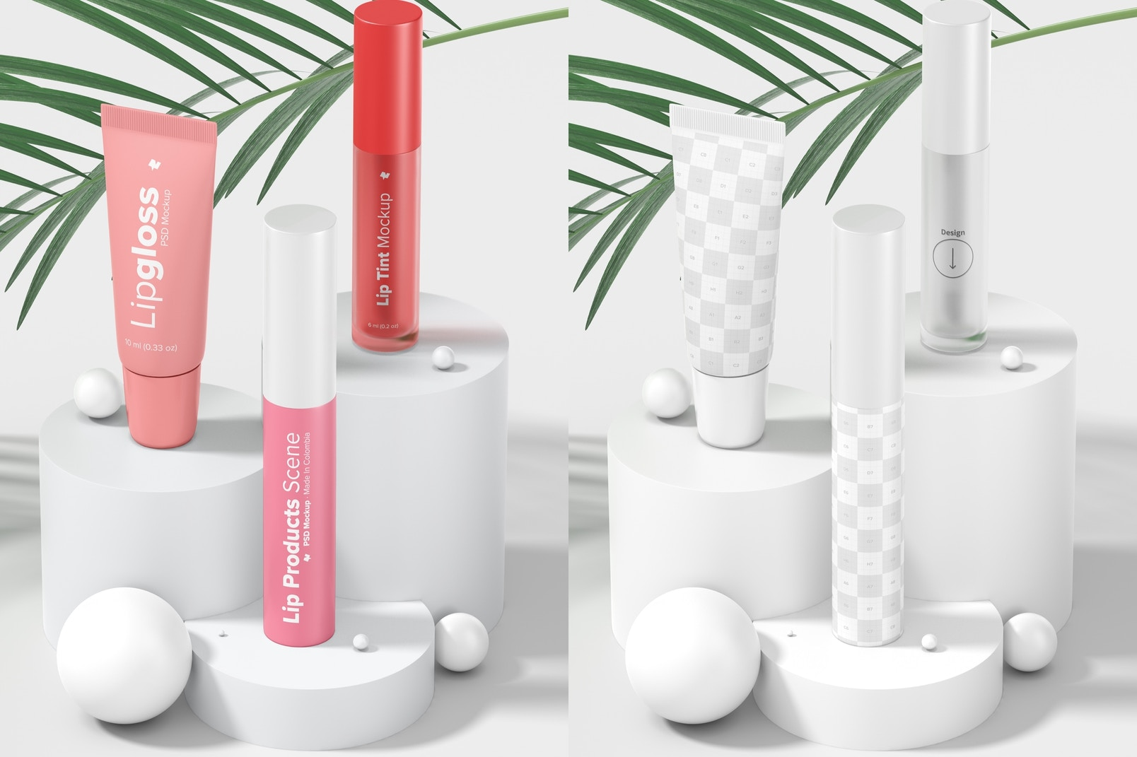 Lip Products Scene Mockup, Perspective View 02