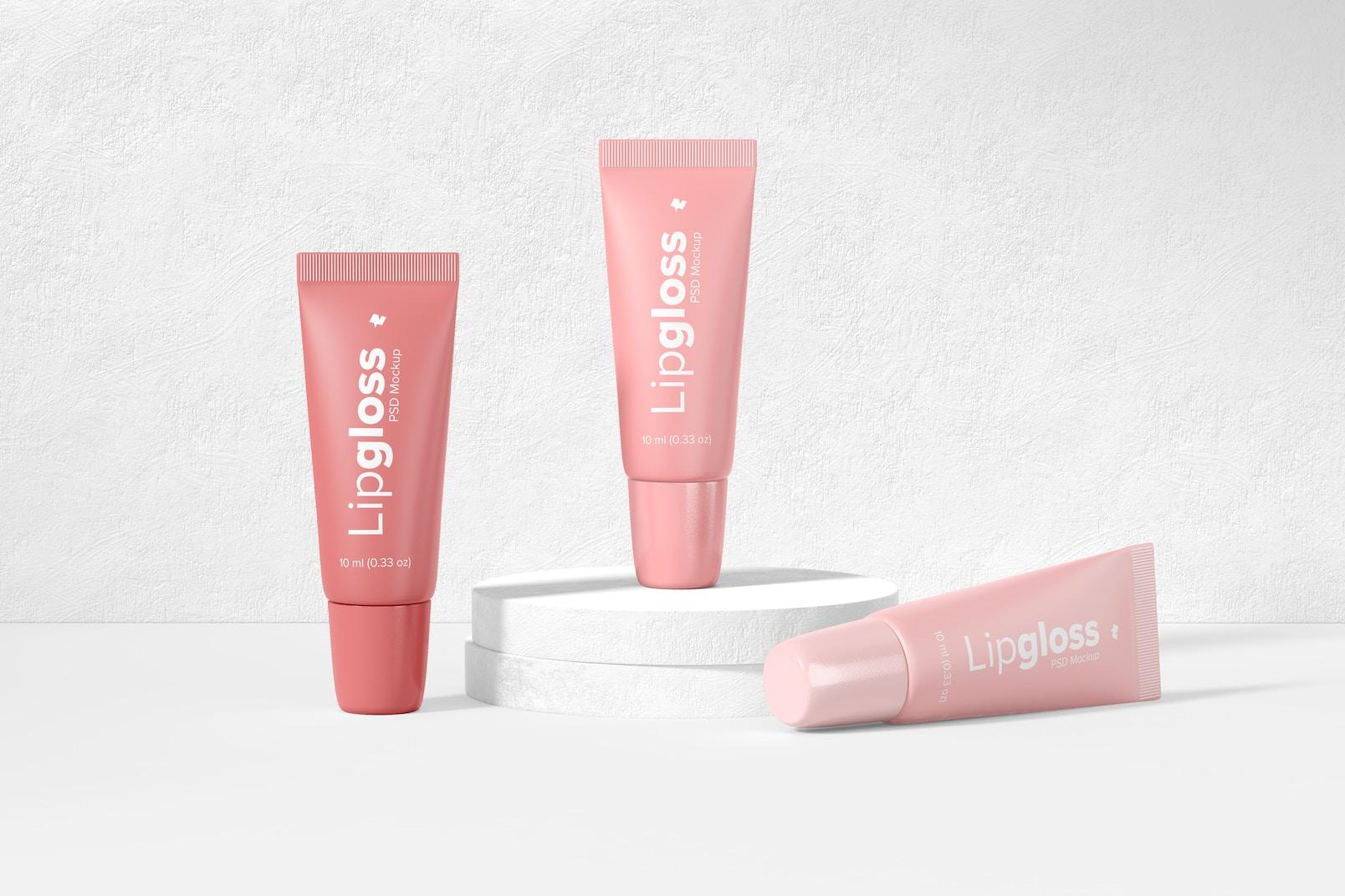 Lipgloss Tubes Mockup, Front View