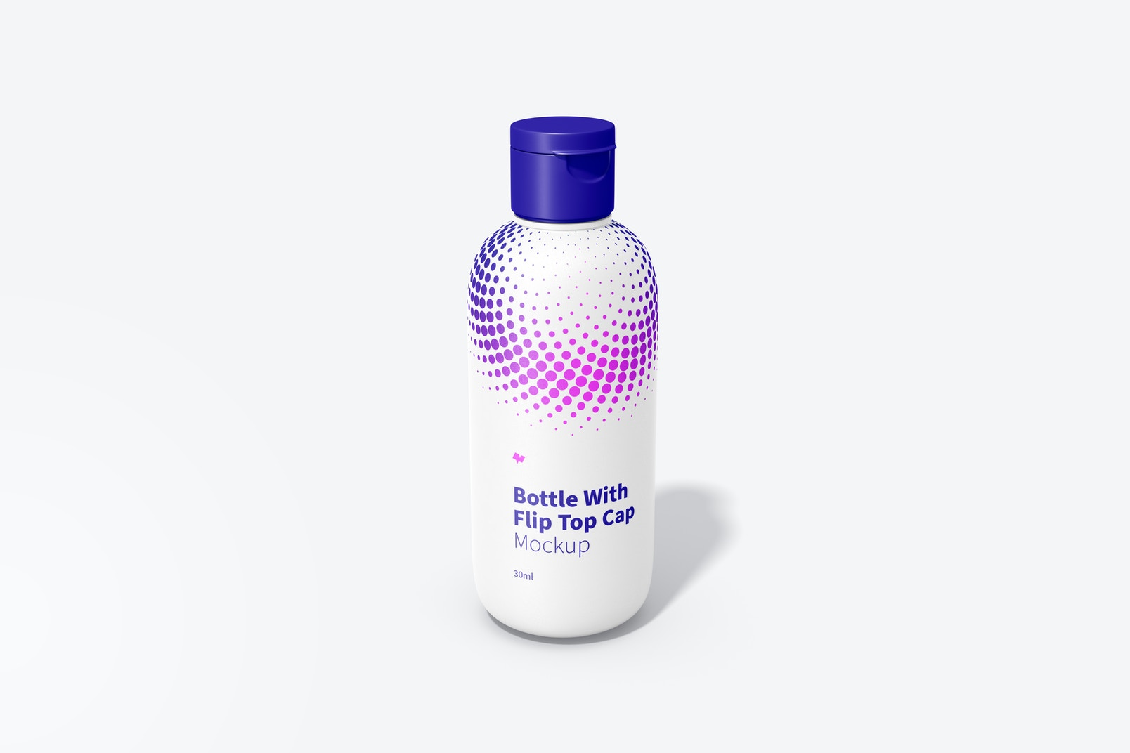 30ml Bottle With Flip Top Cap Mockup, Front View