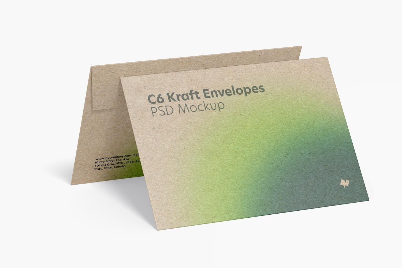C6 Kraft Envelopes Mockup, Right View