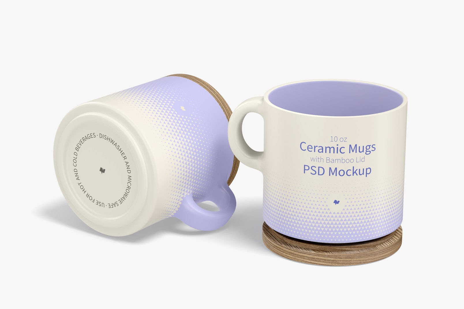 10 oz Ceramic Mugs with Bamboo Lid Mockup