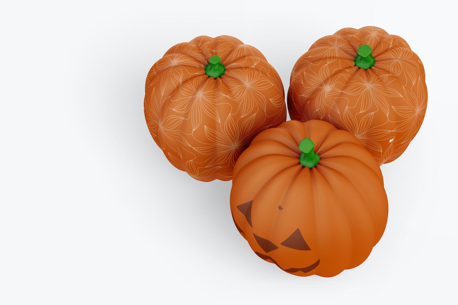 Decorative Pumpkins Mockup, Top View