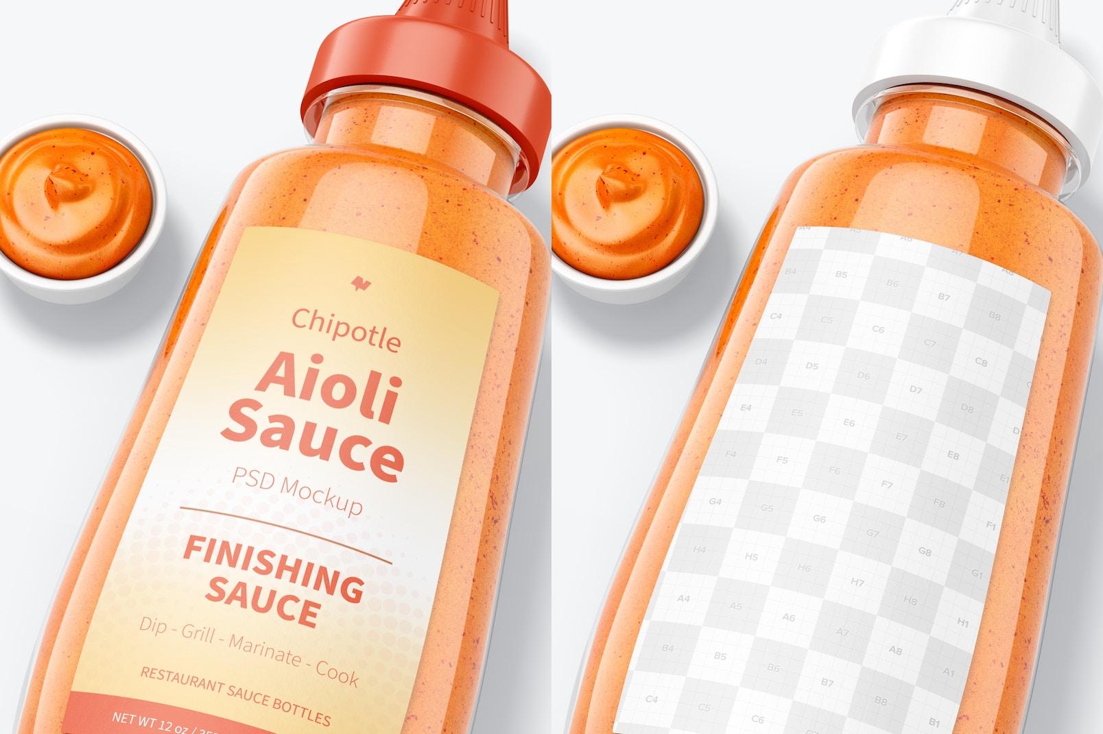 Maqueta de Botella de 12 oz de Salsa Alioli de Chipotle, Primer Plano