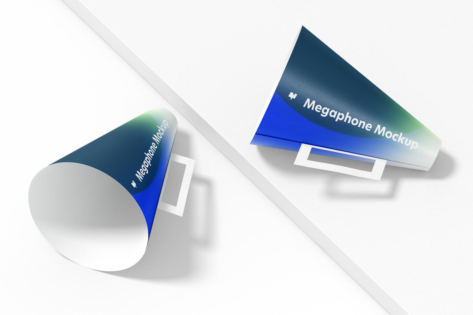Paper Megaphones Mockup, Perspective